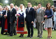 Princess Madeleine wore a refreshing polka-dotted skirt at the celebration of Princess Victoria's 35th Birthday.