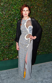 "Rumer Willis looked artsy in this mesh patterned gown at the premiere of Paul McCartney's ""My Valentine"" music video."