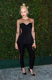 "Gwen Stefani looked killer in this mesh peplum jumpsuit for the premiere of Paul McCartney's ""My Valentine"" music video."
