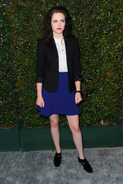 "Kristen Stewart paired her girly skirt with this cuffed blazer at the premiere of Paul McCartney's ""My Valentine"" music video."