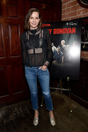 Embeth Davidtz chose a pair of ripped jeans to complete her outfit.