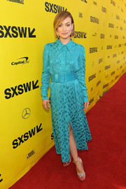 Olivia Wilde was classic and ladylike in a turquoise shirtdress by Carolina Herrera at the 2018 SXSW premiere of 'A Vigilante.'
