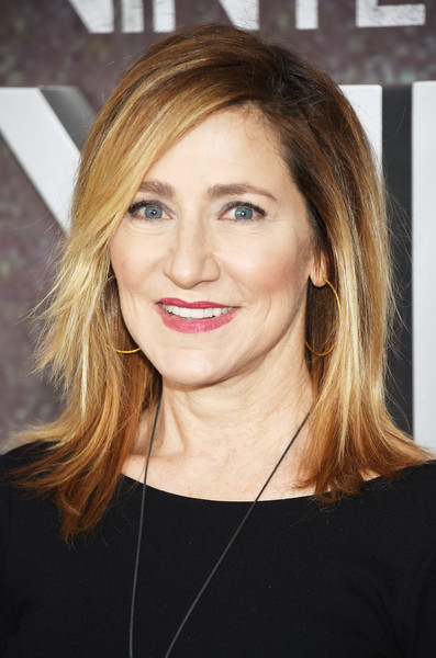 Edie Falco looked super trendy with her layered cut at the New York premiere of 'Vinyl.'