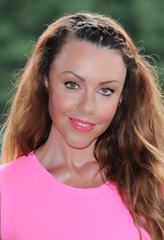 Michelle Heaton had her soft waves partially braided at a triathlon photocall.