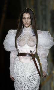 Bella Hadid rocked a dagger-embellished leather belt while walking the Vivienne Westwood Fall 2020 runway.
