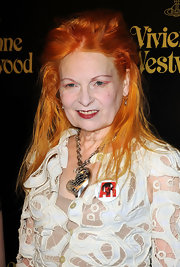 Vivienne Westwood rocked a disheveled hairstyle at the opening of her store.