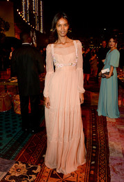 Liya Kebede went for some boho charm in a blush-colored peasant gown by Alberta Ferretti during the Vogue Fashion Dubai Experience.