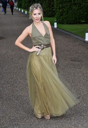 Mollie King balanced out her edgy top with an ultra-feminine tulle skirt, also by Ralph Lauren.
