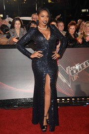 Jennifer Hudson was all about classic glamour in a fully sequined gown with a plunging neckline and a high front slit at the 'Voice UK' 2018 launch.