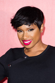 Jennifer Hudson punched up her pout with hot-pink lipstick.