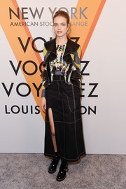Natalia Vodianova looked fashion-forward in a leather and floral-print ruffle blouse by Louis Vuitton at the 'Volez, Voguez, Voyagez' exhibition opening.