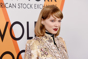 Lea Seydoux went for a classic bob with side-swept bangs at the 'Volez, Voguez, Voyagez' exhibition opening.