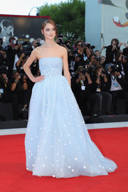 Raffey Cassidy looked exquisite in a strapless baby-blue gown with white polka dots at the Venice Film Festival screening of 'Vox Lux.'