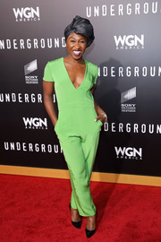 Cynthia Erivo brightened up the red carpet with this lime green jumpsuit during the premiere of 'Underground' season two.