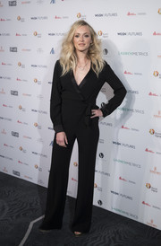 Fearne Cotton went for relaxed sophistication in a black wrap jumpsuit by Diane von Furstenberg during the WGSN Futures Awards.