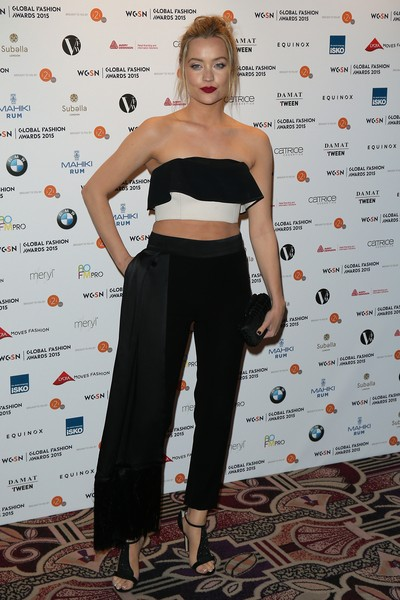 More Pics of Laura Whitmore Statement Ring (1 of 7) - Laura Whitmore Lookbook - StyleBistro [clothing,shoulder,shirt,crop top,joint,waist,fashion,top,dress,carpet,red carpet arrivals,laura whitmore,wgsn global fashion awards,london,england,park lane hotel]