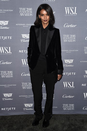 Liya Kebede went for an androgynous vibe in a black Tom Ford pantsuit at the WSJ. Magazine 2016 Innovator Awards.