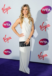 Eugenie Bouchard went for a monochrome-chic finish with a sequined black clutch.