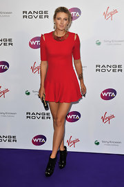 Maria Sharapova put her best foot forward at the Pre-Wimbledon party in a pair of black leather buckled booties.