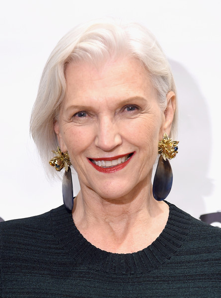 Maye Musk kept it simple with this short bob at the Canvas by Lands' End fall collection show.