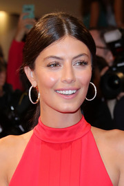 Alessandra Mastronardi polished off her look with a pair of diamond hoops.