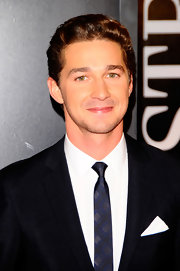 Shia LaBeouf looks like he borrowed a page straight from Mad Men in this skinny navy and black tie. Whatever the inspiration, we say bravo!
