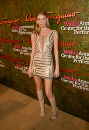 Angela Lindvall looked like a sexy hippie in an embellished nude mini dress with a lace-up neckline at the Wallis Annenberg Center Inaugural Gala.