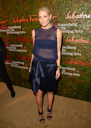 Jamie Tisch completed her look with a pair of blue snakeskin T-strap sandals.