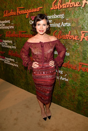 Miroslava Duma looked very fashionable, as always, in a burgundy off-the shoulder top and a textured pencil skirt, both by Ferragamo, when she attended the Wallis Annenberg Center Inaugural Gala.