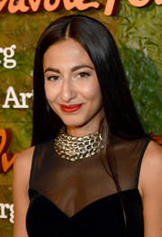 Nosheen Shau looked elegant with her sleek straight 'do and bright red lips at the Wallis Annenberg Center Inaugural Gala.