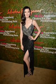 Tao Okamoto was all glammed up in a beaded silver and black gown by Ferragamo at the Wallis Annenberg Center Inaugural Gala.