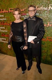 Judith Pali paired a lace and leather peplum top with velvet pants for the Wallis Annenberg Center Inaugural Gala.