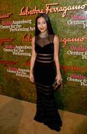 Nosheen Shau looked downright sophisticated at the Wallis Annenberg Center Inaugural Gala in a sleeveless black evening dress with see-through inserts.