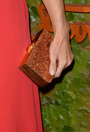 Alessandra Ambrosio attended the Wallis Annenberg Center Inaugural Gala carrying a bedazzled box clutch.