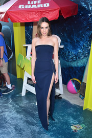 Jessica McNamee slipped into a navy strapless gown by David Koma for the premiere of 'The Meg.'