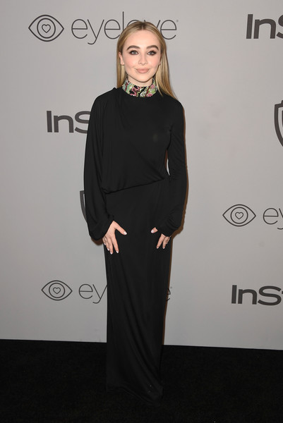 Sabrina Carpenter kept it minimal yet sophisticated in a long-sleeve black Emilio Pucci gown with a multicolored beaded neckline at the Warner Bros. and InStyle Golden Globes after-party.