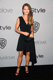 Rebecca Gayheart styled her LBD with black cross-strap sandals.