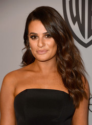 Lea Michele wore her hair in long lush waves at the Warner Bros. and InStyle Golden Globes after-party.