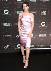 Charli XCX donned a pink slip dress for the Warner Music Group pre-Grammy celebration.