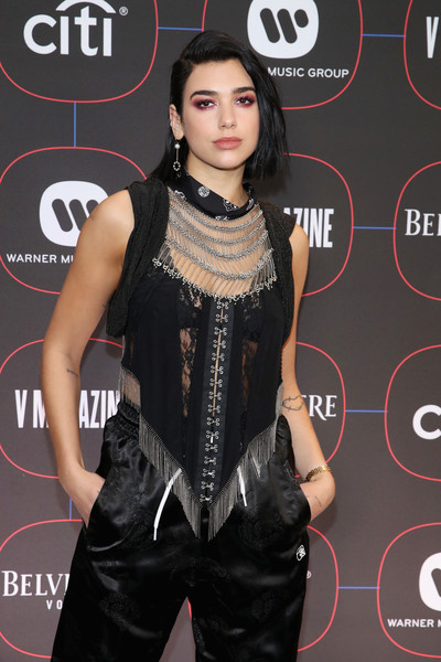 More Pics of Dua Lipa Evening Pumps (1 of 5) - Dua Lipa Lookbook - StyleBistro [red carpet,clothing,hairstyle,fashion,carpet,black hair,dress,fashion model,flooring,little black dress,neck,warner music pre-grammy party,nomad hotel,los angeles,california,dua lipa]