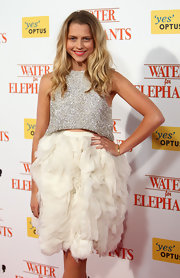 Teresa Palmer sparkled at the 'Water for Elephants' Sydney premiere in a silver cropped top.