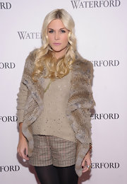 Tinsley Mortimer added excitement to her neutral ensemble with a variety of textures, including a cozy nude sweater.