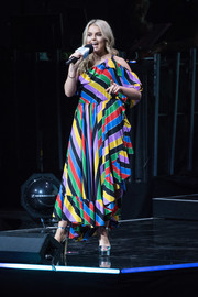 Tallia Storm brought a rainbow of colors to the WE Day UK stage with this Philosophy di Lorenzo Serafini one-shoulder dress.