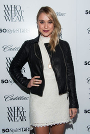 Becca Tobin contrasted her delicate little white dress with a tough-chic leather jacket when she attended the Who What Wear event.