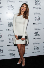 Jessica Alba looked modern and stylish at the Who What Wear event in a long-sleeve white Wes Gordon dress with striped inserts on the skirt.