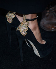 Rachel Zoe attended the Who What Wear event teetering on super-high, embellished black platform pumps.