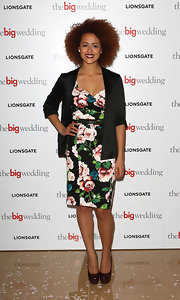 Nathalie Emmanuel played with layers when she paired this black blazer over a bold floral frock.