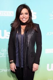 Rachel Ray donned a unique leather jacket with cloth sleeves.
