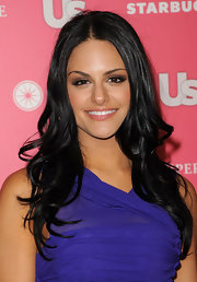 Pia Toscano styled her raven locks in soft curls for the 'Us Weekly' Hot Hollywood event.