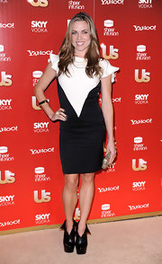 Natalie Coughlin looked oh-so-chic in a color-blocked short dress at the US Weekly Hot Hollywood event.
